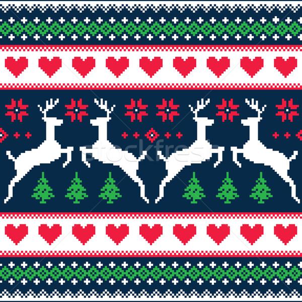 Tél karácsony végtelenített pixeles minta szarvas Stock fotó © RedKoala