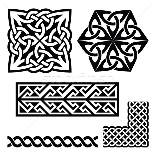 Celtic Irish and Scottish patterns - knots, braids, key patterns Stock photo © RedKoala