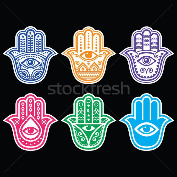 Hand Amulett Symbol Schutz Teufel Auge Stock foto © RedKoala