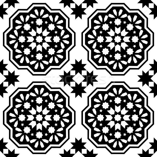 Geometric seamless pattern, Moroccan tiles design, seamless black tile background  Stock photo © RedKoala