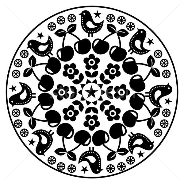 Finnish inspired round folk art pattern - black design Scandinavian, Nordic style  Stock photo © RedKoala