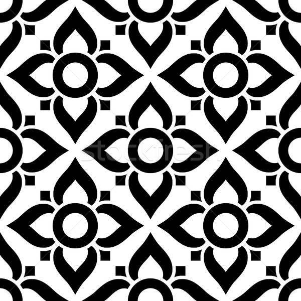 Thai seamless pattern with flowers - black and white tile, inspired by art from Thailand Stock photo © RedKoala