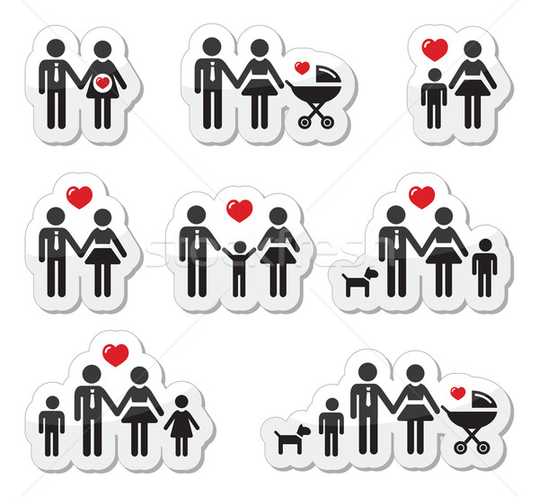 People icons - family, baby, pregnant woman, couples Stock photo © RedKoala