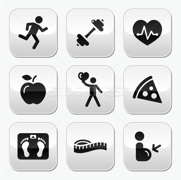 Keep fit and healthy icons on glossy buttons Stock photo © RedKoala