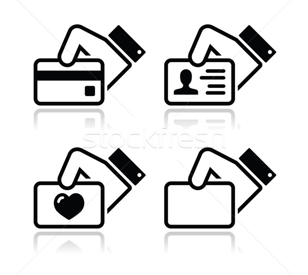 Murphy Visa Card >> Hand Holding Credit Card Business Card Id Icons Set Vector