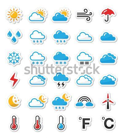 Tempo previsão botões conjunto moderno Foto stock © RedKoala