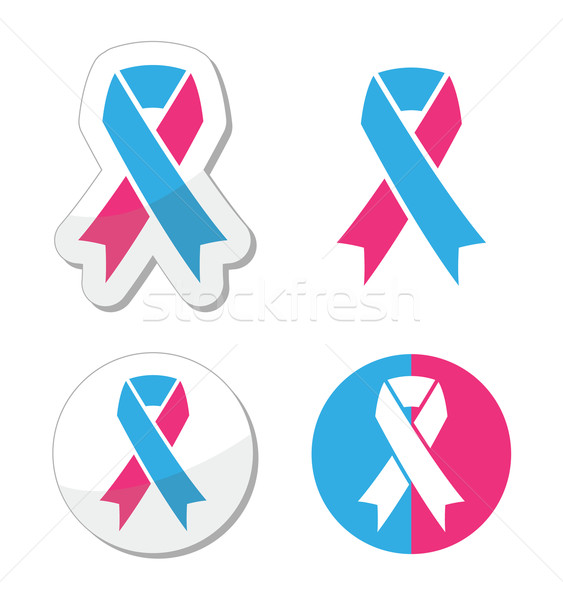 Pink and blue ribbon - pregnancy and infant loss awereness symbol Stock photo © RedKoala
