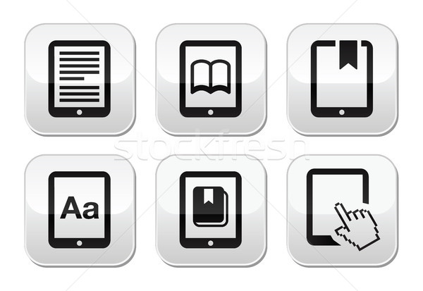 E-book reader, e-reader vector buttons set  Stock photo © RedKoala