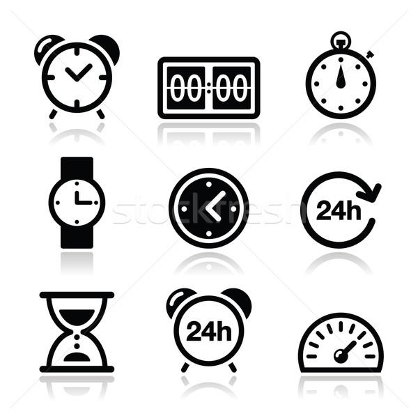 Time, clock vector icons set Stock photo © RedKoala