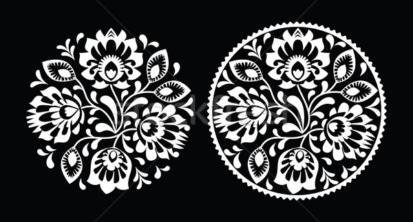Folk embroidery with flowers - traditional polish round pattern in white Stock photo © RedKoala