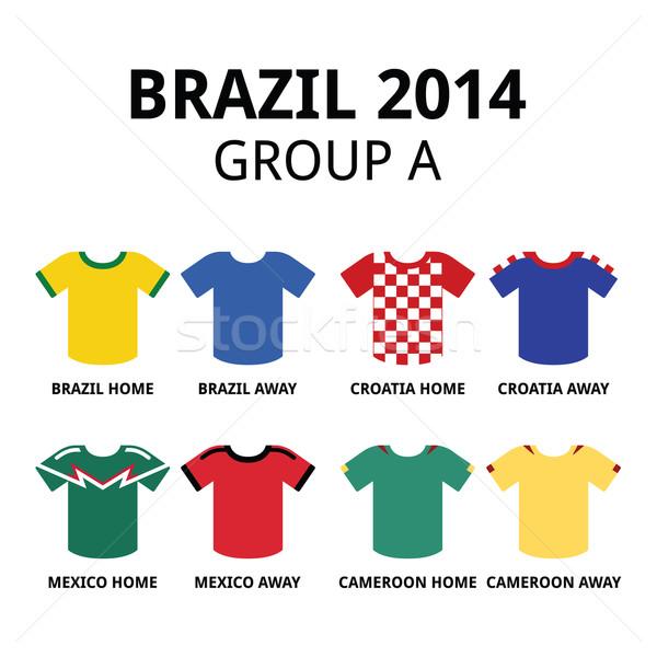 World Cup Brazil 2014 - group A teams football jerseys  Stock photo © RedKoala