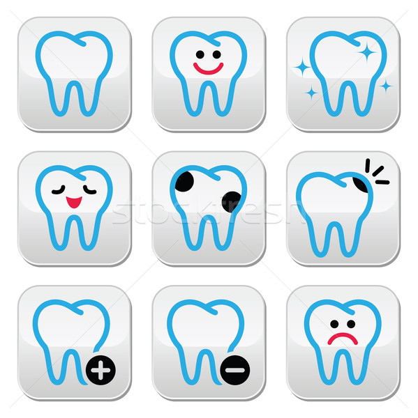 Tooth, teeth vector icons set in color Stock photo © RedKoala