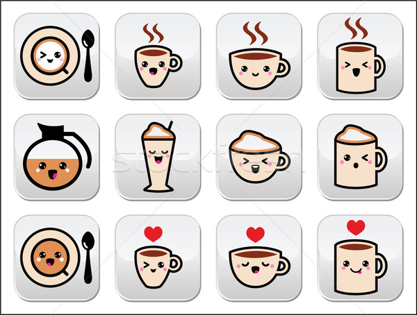 Cute café cappuccino espresso kawaii boutons Photo stock © RedKoala