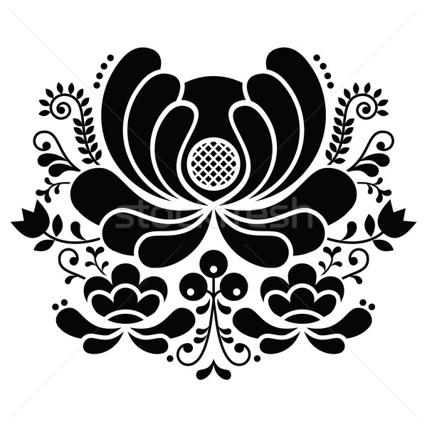 ノルウェーの 芸術 黒白 パターン スタイル 刺繍 ストックフォト © RedKoala