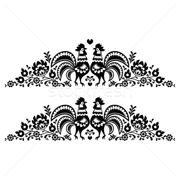 Polish floral folk art long embroidery pattern with roosters - wzory lowickie Stock photo © RedKoala