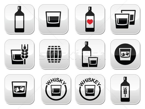 Foto stock: Whisky · whisky · alcohol · botones · establecer · vector
