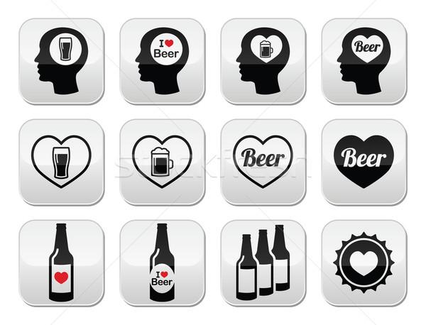 Man loving beer vector buttons set Stock photo © RedKoala