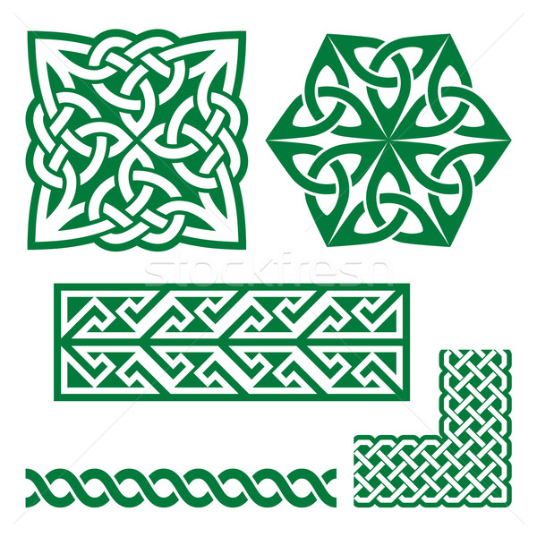 Celtic irlandzki zielone wzorców wektora Dzień Świętego Patryka Zdjęcia stock © RedKoala