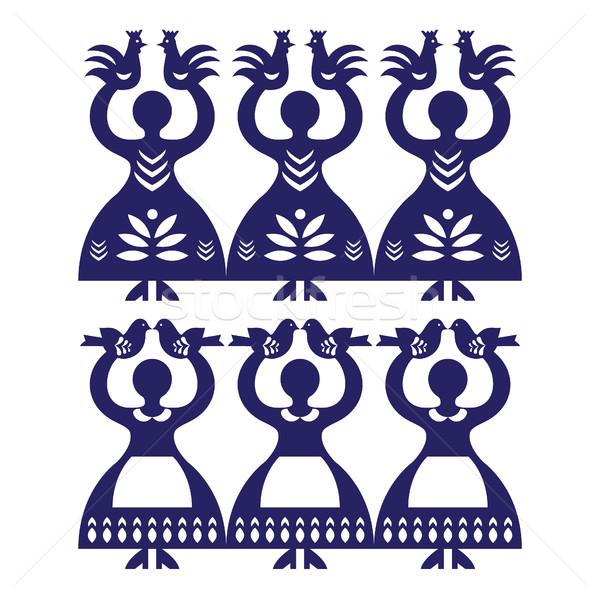 Polish folk art pattern Wycinanki Kolbielskie - Kolbiel Papercuts with women holding birds Stock photo © RedKoala