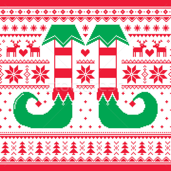 Christmas seamless pattern with elf and reindeer, red and green repetitive design Stock photo © RedKoala