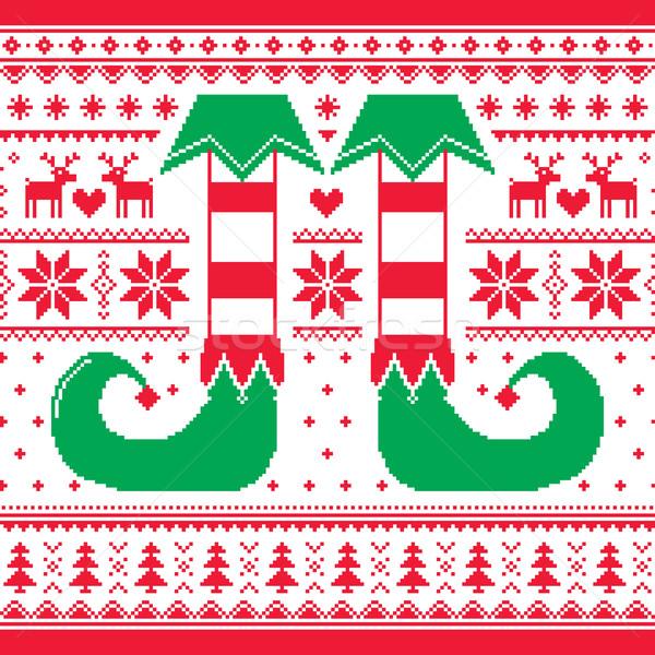 Stok fotoğraf: Noel · cin · ren · geyiği · kırmızı · yeşil