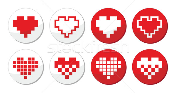 Stock photo: Pixeleted red heart icons set - love, dating online concept