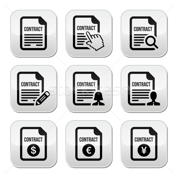 Business or work contract signing vector buttons set Stock photo © RedKoala
