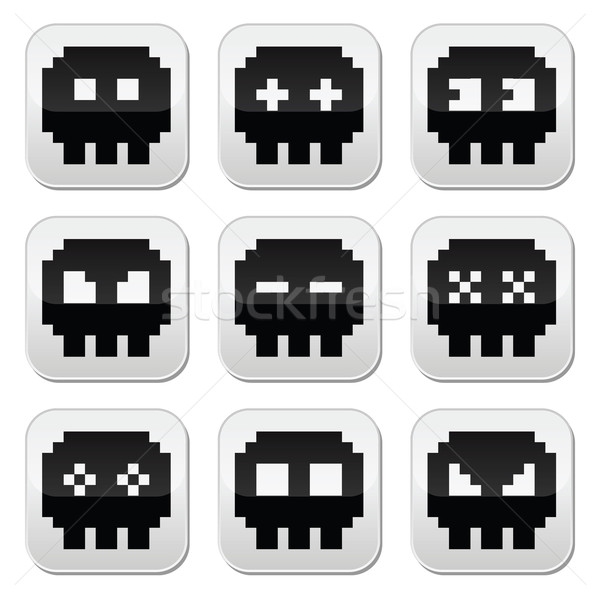 Pixelated 8bit skull vector icons set Stock photo © RedKoala