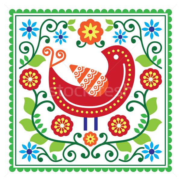 Folk art vector pattern with bird and flowers Stock photo © RedKoala