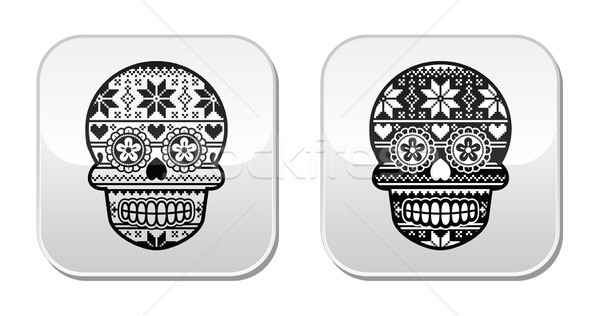 Mexican black sugar skull buttons with winter Nordic pattern  Stock photo © RedKoala