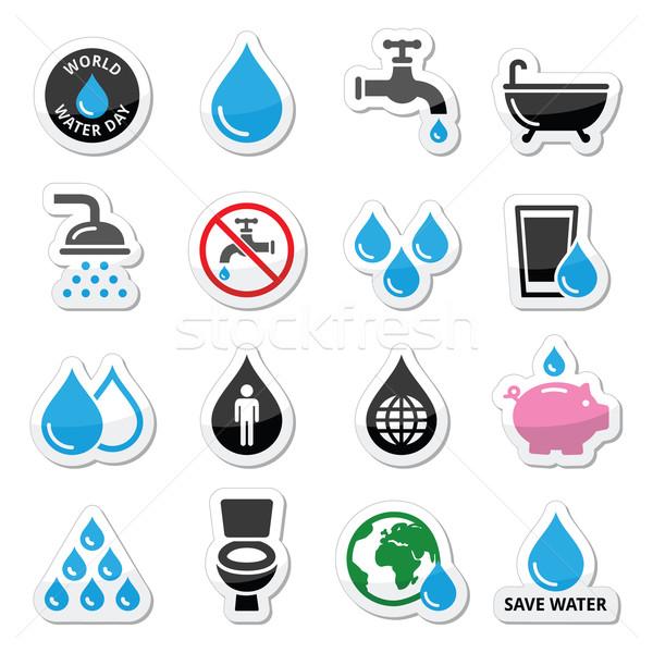 Мир воды день иконки экология зеленый Сток-фото © RedKoala