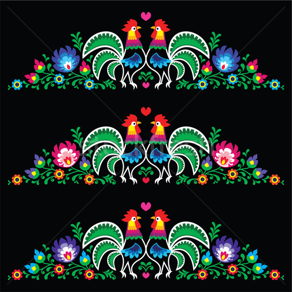 Polish folk art embroidery with roosters - traditional folk pattern Stock photo © RedKoala