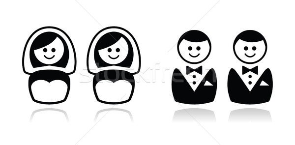 Gay / lesbian wedding  icons set Stock photo © RedKoala