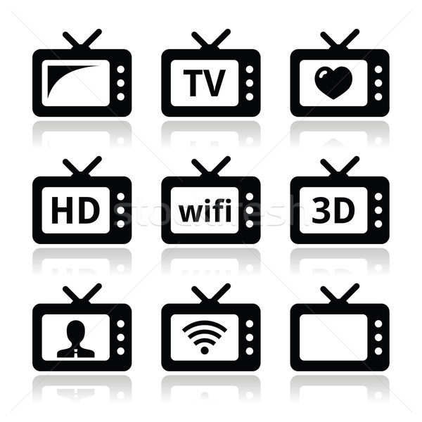 TV set, 3d, HD vector icons Stock photo © RedKoala