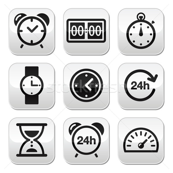 Time, clock vector buttons set Stock photo © RedKoala