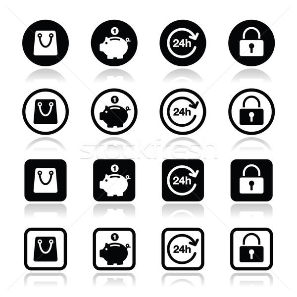 Shopping icons set - account, save, 24h, shopping bag Stock photo © RedKoala