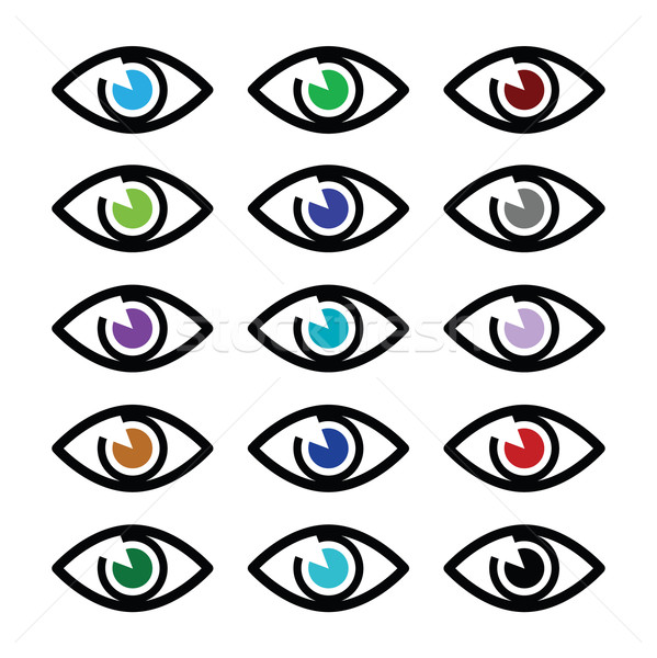 Eye colors sight icons set - vector icons set Stock photo © RedKoala