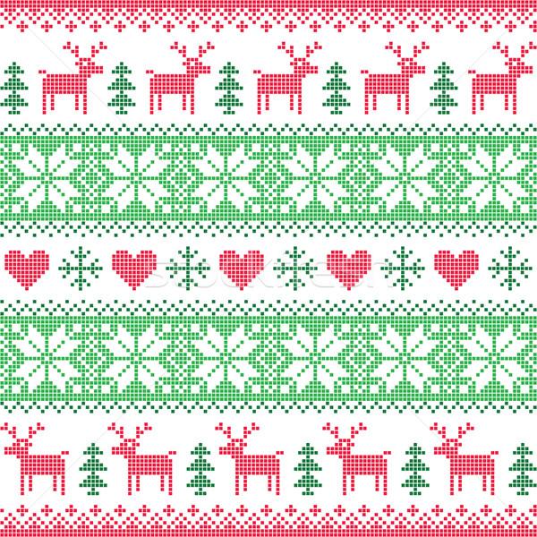 Tél karácsony piros zöld végtelenített pixeles Stock fotó © RedKoala