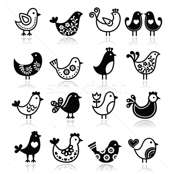 Folk birds vector icons set  Stock photo © RedKoala
