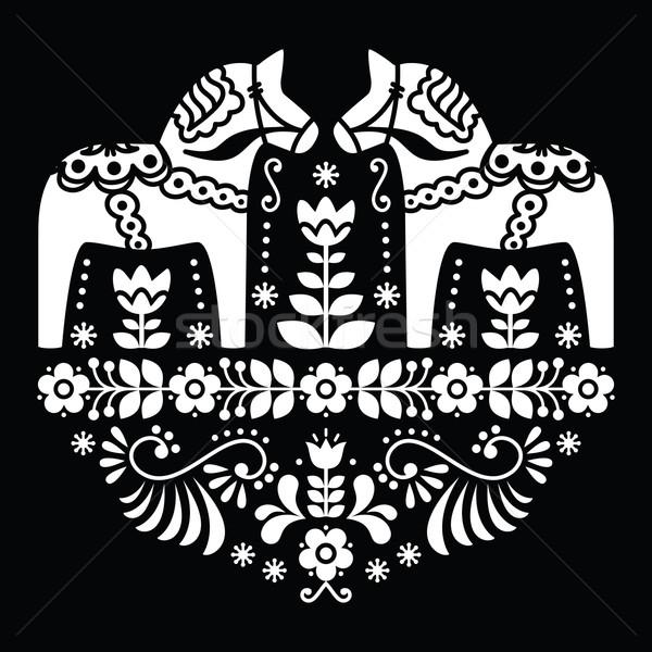 Swedish Dala or Daleclarian horse floral folk pattern on black Stock photo © RedKoala