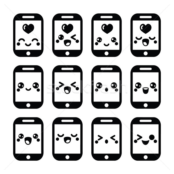 Japanese cute Kawaii character - mobile or cell phone icons set  Stock photo © RedKoala