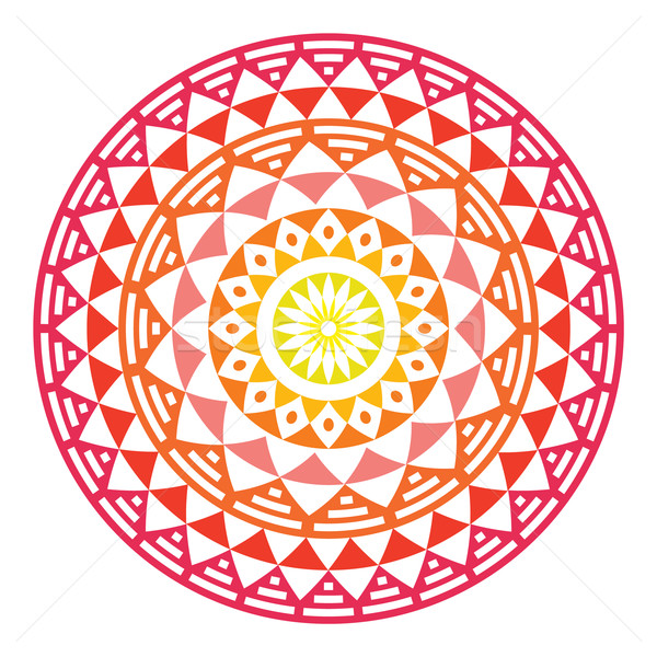Tribal Aztec geometric pattern or print in circle - ombre Stock photo © RedKoala
