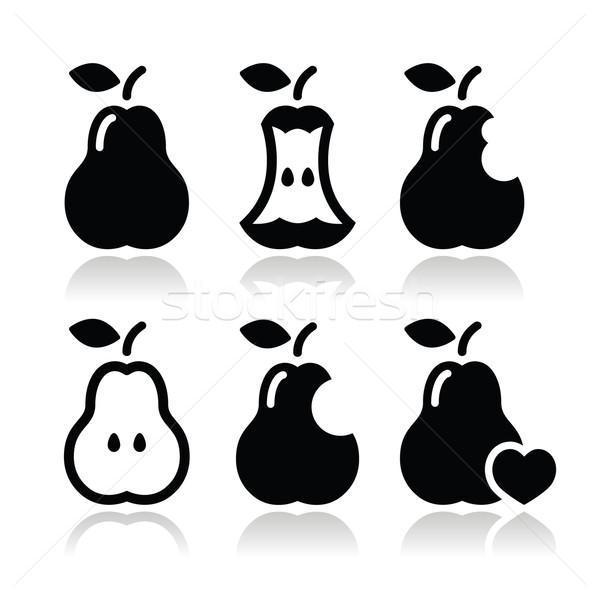 Stock photo: Pear, pear core, bitten, half vector icons