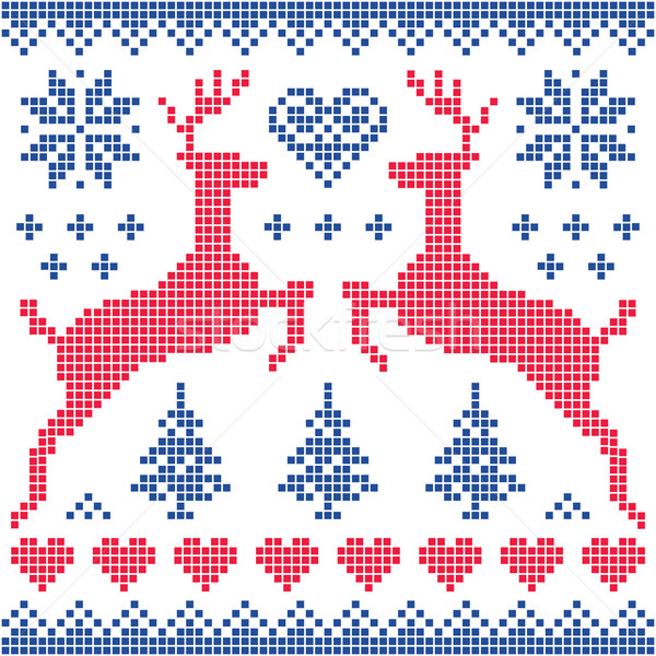 Winter, Christmas red and navy pattern card Stock photo © RedKoala