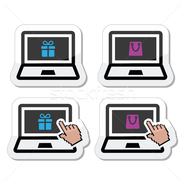 Stock photo: Shopping online, lapton with present and shooping bag icons set