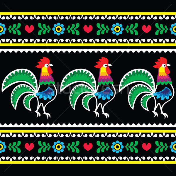 Polish folk art pattern with roosters on black - Wzory lowickie, Wycinanka  Stock photo © RedKoala