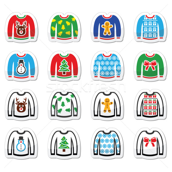 Stock photo: Ugly Christmas sweater on jumper icons set