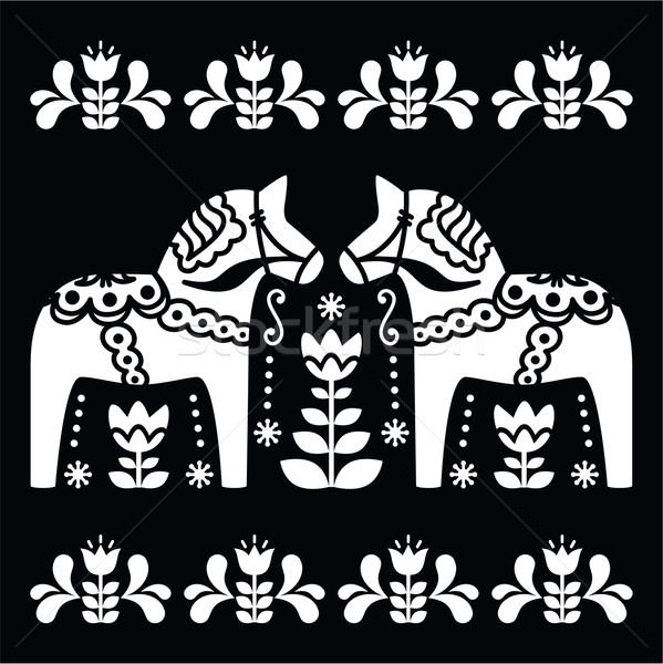 Swedish Dala or Daleclarian horse folk art pattern on black  Stock photo © RedKoala