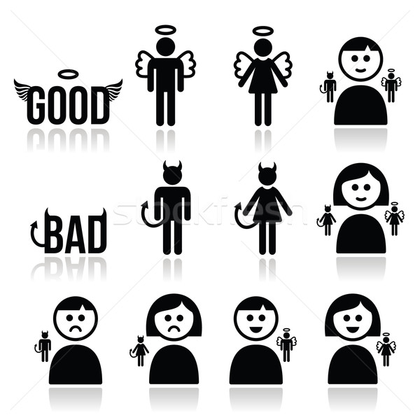 Stock photo: Angel, devil man and woman icon set