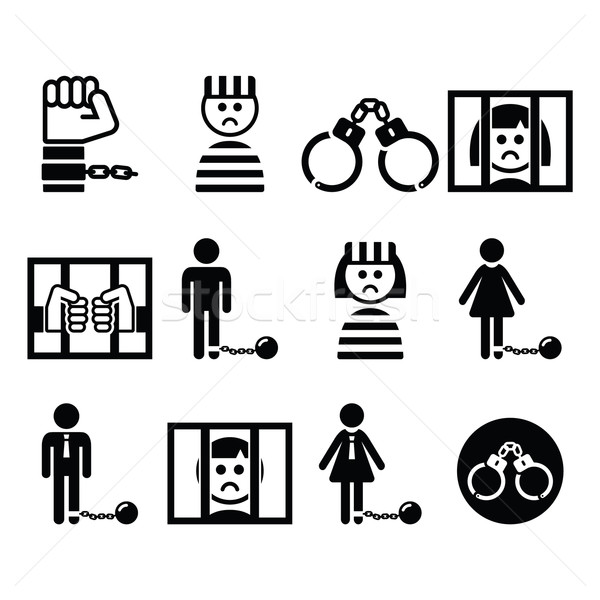 Prisoner, crime, slavery vector icons set  Stock photo © RedKoala